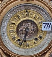 793 - INTRICATE GOLD-TONE CLOCK W/CHERUBS