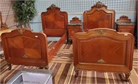 BEAUTIFUL PAIR OF WOOD TWIN BEDS & MARBLE TOP NIGH