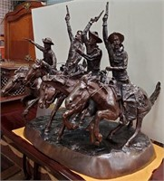 714 - STUNNING 4 COWBOYS RIDING REMINGTON BRONZE