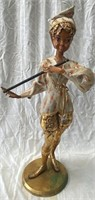 11 - VINTAGE LADY FLUTE PLAYER STATUE - SEE PICS