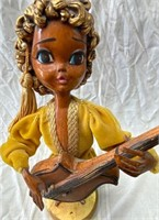 VINTAGE LADY GUITAR PLAYER STATUE - SEE PICS COND.