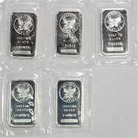 FIVE 1oz .999 SILVER BARS SUNSHINE MINTING