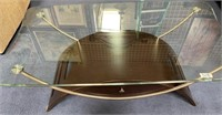 11 - STUNNING GLASS TOP COFFEE TABLE W/DRAWER