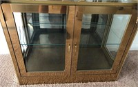 795 - TALL GLASS/WOOD LIGHTED CURIO CABINET