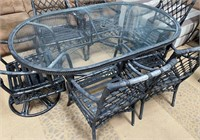 792 - WROUGHT IRON GLASS TOP PATIO TABLE W/CHAIRS
