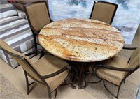 11 - BEAUTIFUL STONE TOP TABLE W/ 4 CHAIRS