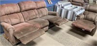 11 - LAZYBOY SOFA W/ RECLINERS & RECLINING CHAIR