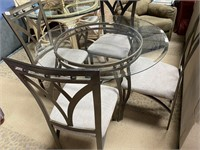 793 - METAL & GLASS ROUND TABLE W/ 4 CHAIRS