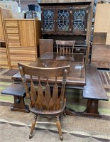 SOLID WOOD TABLE W/2 BENCHES/CHAIRS & CHINA HUTCH