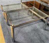 714 - LOT OF 4PCS METAL/GLASS TABLE SET