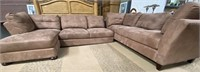 NEW 3PC TAN SECTIONAL - MISSING ONE CUSHION.