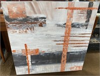 43 - NEW WMC CANVAS ART ORANGE/GREY & WHITE