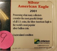 2001 & 2002 SILVER AMERICAN EAGLE COINS (9)