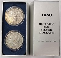 1880 HISTORIC US SILVER DOLLARS 1.5 TROY OZ
