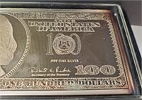 $100.00  .999 SILVER NOTE IN BOX WASHINTON MINT