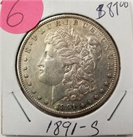 "1891 ''S"" - MORGAN SILVER DOLLAR (6)"
