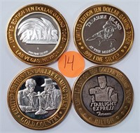 LOT OF (4) .999 SILVER CASINO GAMING STRIKES (14)