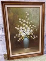 11 - SIGNED & FRAMED WHITE FLOWER WALL ART