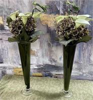 76 - BEAUTIFUL PAIR OF GREEN VASES W/FLOWERS