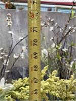 793 - LOT OF 2 TALL METAL VASE W/ FLOWERS