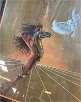 N - BEAUTIFUL FRAMED WOMAN ON SERPANT ART