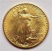 GOLD 1908 $20 DOLLAR COIN