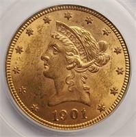GOLD 1901 MS61 $10 DOLLAR COIN