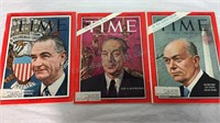 Trio of Vintage Time Magazines- '63