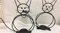 Pair of Large Black Metal Cat Candleholders - NIB