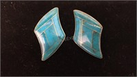 Pair of Turquoise & Sterling Silver Pierced