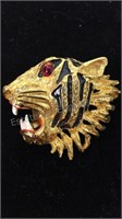 Pair of Rhinestone Tiger Brooches/Pins