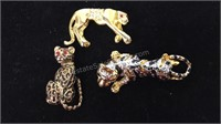 Trio of Rhinestone Brooches/Pins