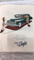 Vintage Dodge Advertising Picture 13x10