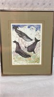Signed & Numbered Framed Whales Art 12x10