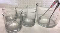Vintage Glass Monogrammed S Ice Bucket & 4 Glass