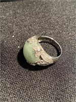 Jade ring in sterling silver setting size 8