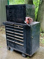 Large Metal Tool Box on Wheels W/ Vise