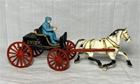 "Cast Iron Horse, Carriage, Person, 15"" long x 6"" H"