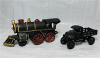 Cast Iron Train and Truck, no markings, both nice