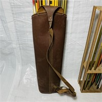 Leather Quiver full of arrows plus Wood holder