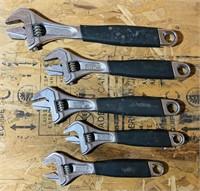 5 Sandvik Bahco Adjustable Wrenches, Sweden made