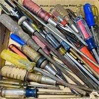 Box Full of Various Screwdrivers