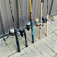 5 Fishing Rods and Reels, Fenwick is a 10 ft rod,