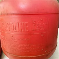 3 plastic Gas Cans, 2.5 gal, two 5 gallon