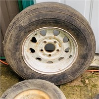 5 Trailer Tires, 4 on rims