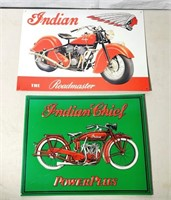 "2 Indian motorcycle signs, 16"" X 11"" and 14"" x 11"""