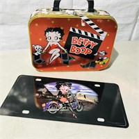 Betty Boop license plate, tin lunchbox