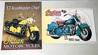 2 tin Indian motorcycle signs, 1953 Chief - about