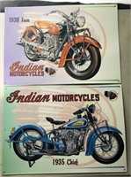 2 tin 1930's model Indian motorcycle signs -