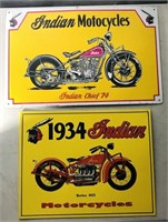 """2 tin Indian motorcycle signs - about 17"""" X 11"""""""